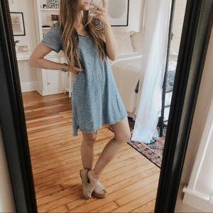Universal Thread Blue & White Knit Tee Dress